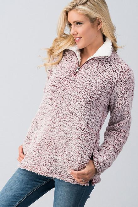 Bria Sherpa Pullover - Wine