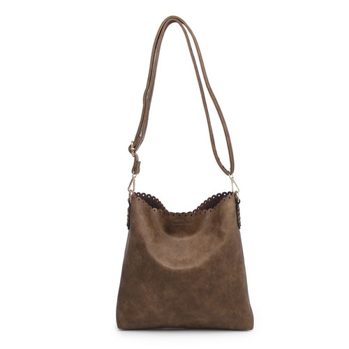 Evie 2in1 Eyelet Scallop Bag - Coffee