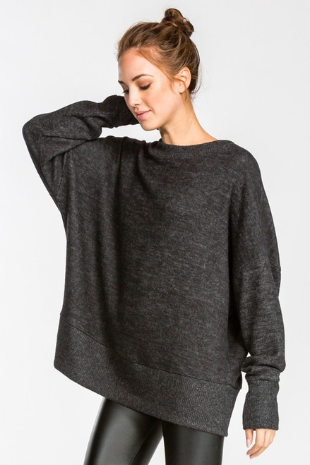 Charlotte Loose Fit Knit Top - Charcoal