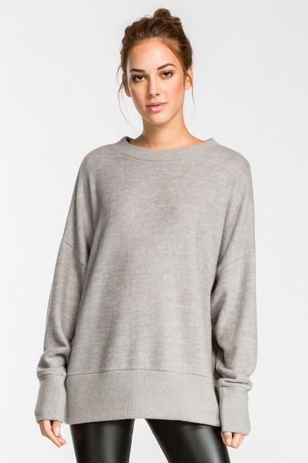 Charlotte Loose Fit Knit Top - Heather Gray