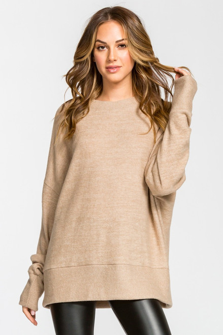 Charlotte Loose Fit Knit Top - Taupe