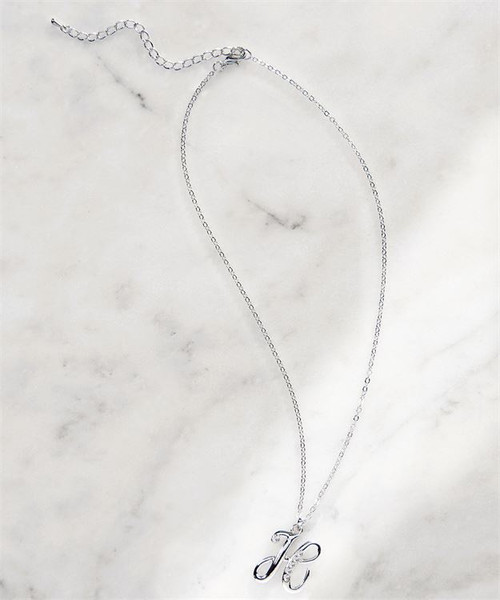 Rhinestone Pendant Initial Necklace