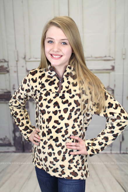 YOUTH Leopard Fleece Pullover
