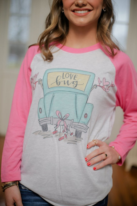 Love Bug Doodle Raglan - Pink