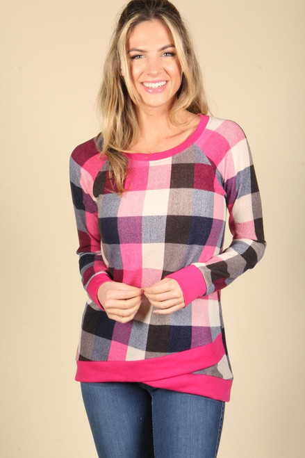 Delaney Checkered Top - Fuchsia