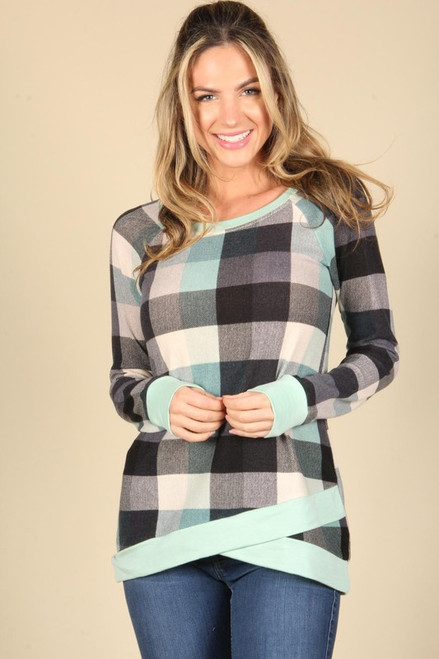 Delaney Checkered Top - Mint