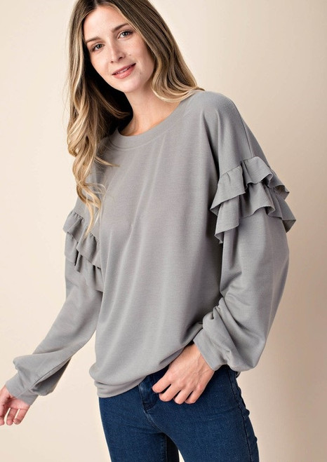Maya Ruffle Sleeve Top - Grey
