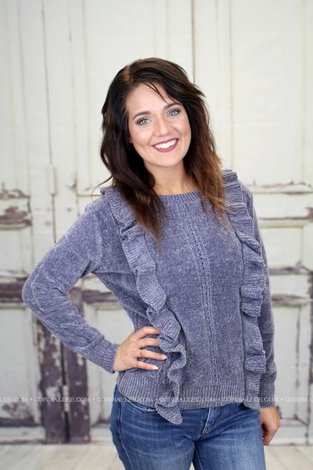 Dani Ruffle Knit Sweater - Charcoal Grey