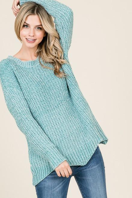 Candace Scalloped Hem Sweater - Mint