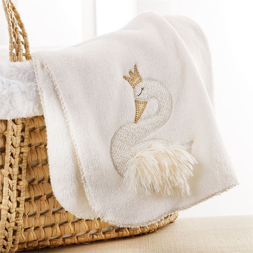 Fleece Baby Blanket - Swan