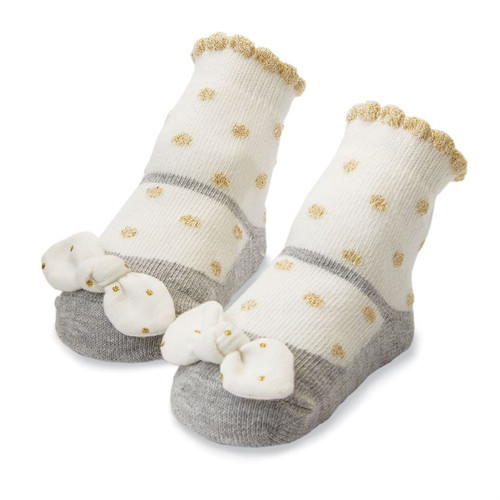 Girls Baby Socks - Gold Dot
