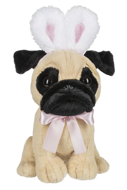Plush Pug with Bunny Ears