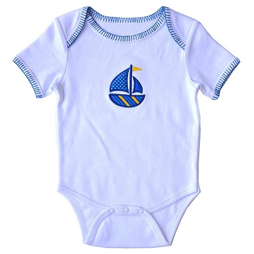 Applique Baby Onesie - Sailboat
