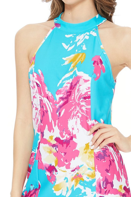 Sophie Halter Shift Dress - Turquoise & Pink