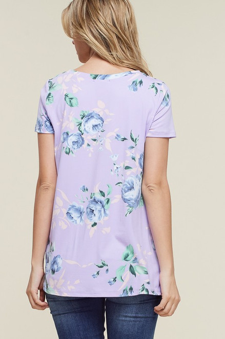 Colleen Floral Knot Top - Lavender