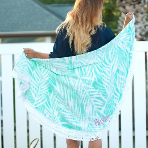 Poolside Palm Round Beach Towel