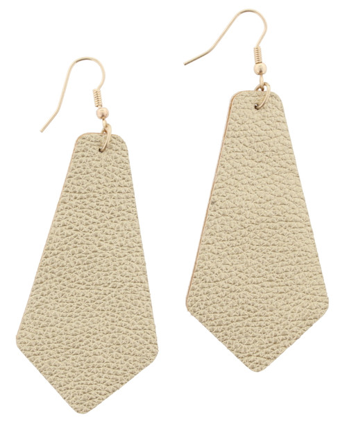 Gold Leather Pointed Teardrop Earrings