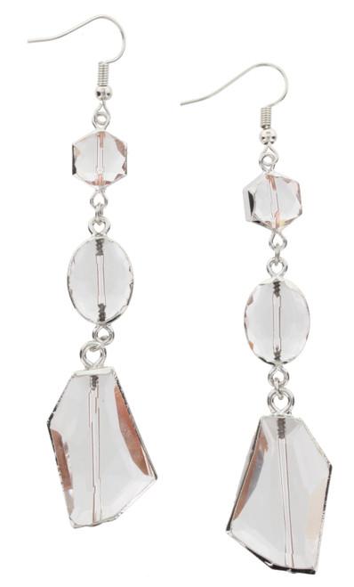 Clear Crystal 3 Drop Dangle Earrings