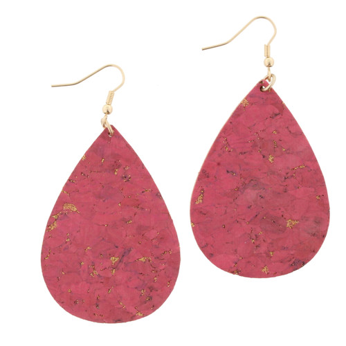 Pink Cork with Gold Fleck Teardrop Earrings