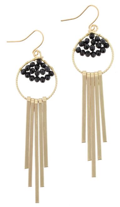 Jet Bead Weave Gold Fringe Dangle Earrings