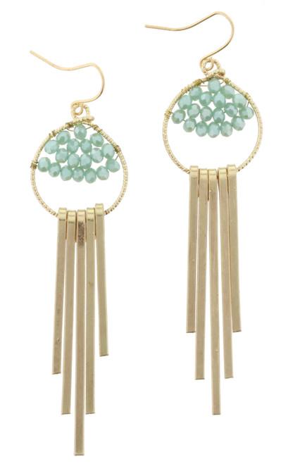 Mint Bead Weave Gold Fringe Dangle Earrings