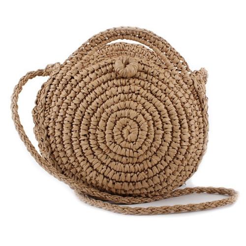 Spiral Straw Beach Crossbody Purse - Khaki