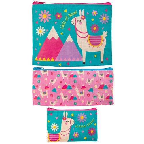 Recycled Accessory Bag Set - Llama