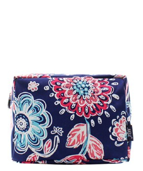 Canvas Cosmetic Bag - Navy Floral Party