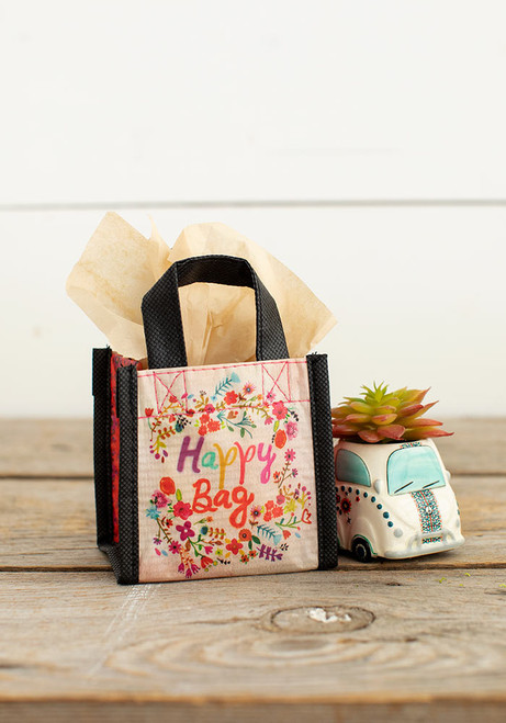Extra Small Recycled Gift Bag - Multi-Floral Wreath