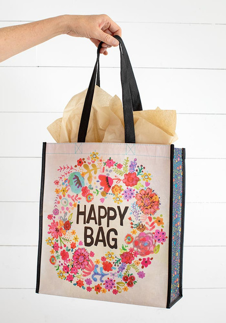 Extra Large Recycled Gift Bag - Whimsy Floral Wreath