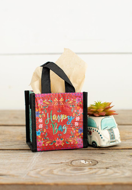 Extra Small Recycled Gift Bag - Red Happy Bag