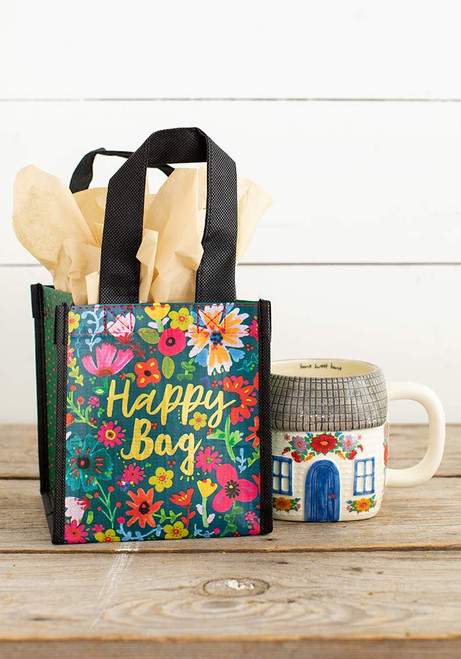 Small Recycled Gift Bag - Teal Gold Floral