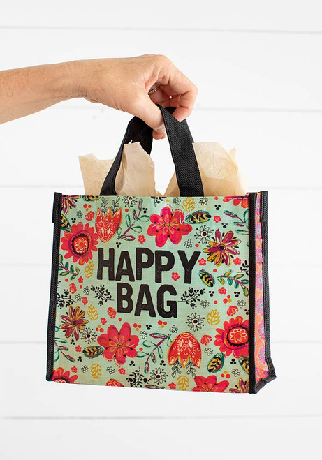 Medium Recycled Gift Bag - Turquoise Happy Bag