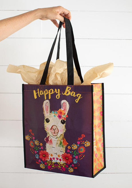 Extra Large Recycled Gift Bag - Llama Wreath
