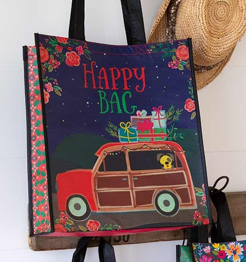 Extra Large Recycled Gift Bag - Christmas Car
