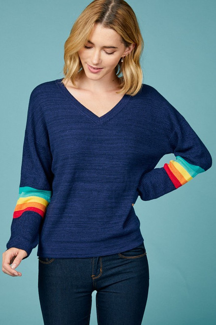 Jadyn Rainbow Sleeve Pullover