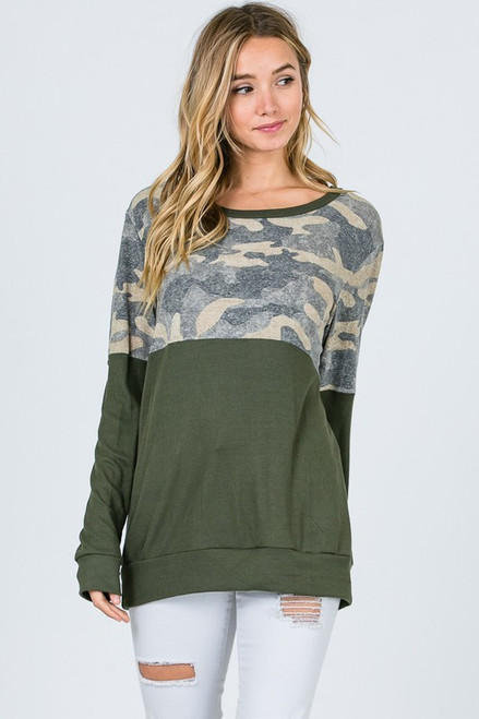 Giana Camo Block Sweater Top