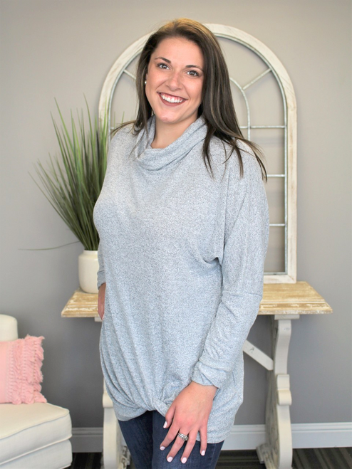 Simply Southern Cowl Knot Sweater - Heather Grey
