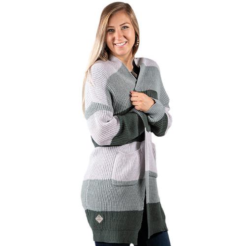 Simply Southern Color Block Cardigan - Grey