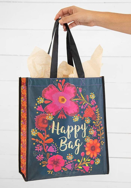 Extra Large Recycled Gift Bag - Turquoise Magenta Cream