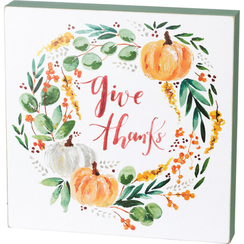 Give Thanks Wreath Box Sign