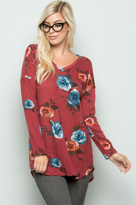 Miranda Floral Tunic - Burgundy