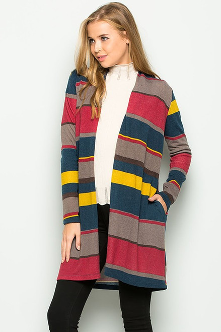 Corinne Striped Cardigan Sweater