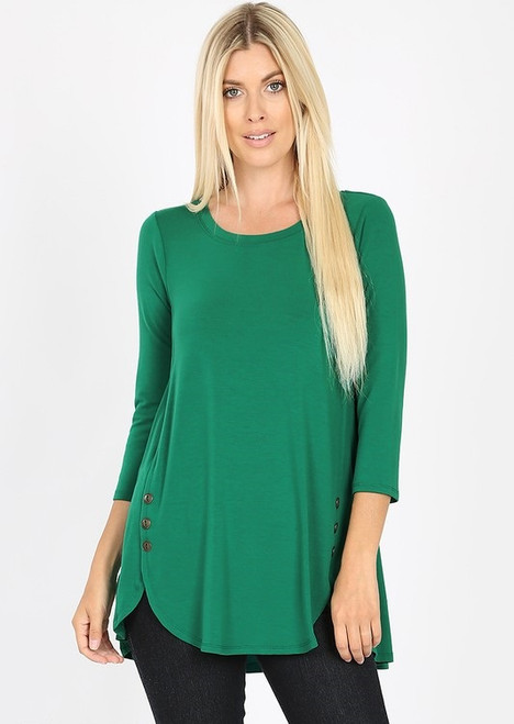 Jaclyn  Side Button Top - Forest Green