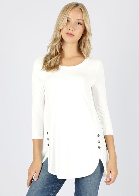 Jaclyn  Side Button Top - Ivory