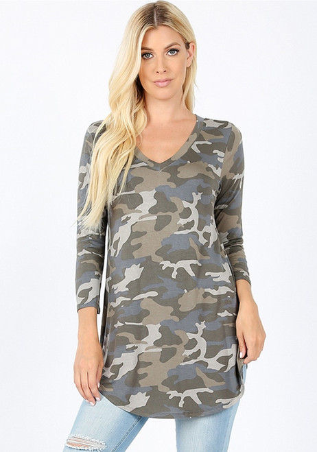 Alicia Camo Print Top - Grey