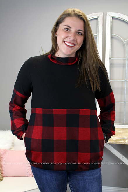 Isabelle Buffalo Plaid Pullover - Red & Black