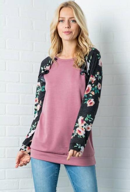 Ashlyn Floral Pullover Ruffle Top - Mauve