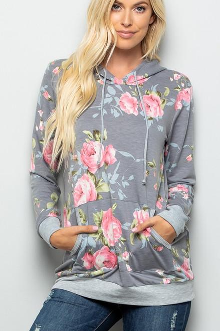 Lauryn Floral Sweatshirt Hoodie - Grey