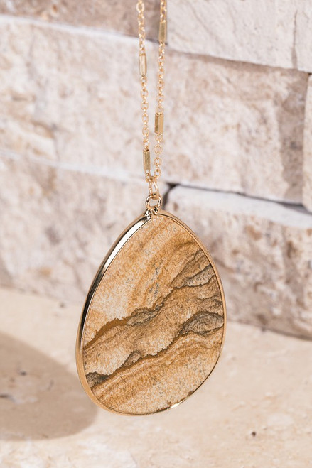 Mira Teardrop Natural Stone Necklace - Picture Jasper